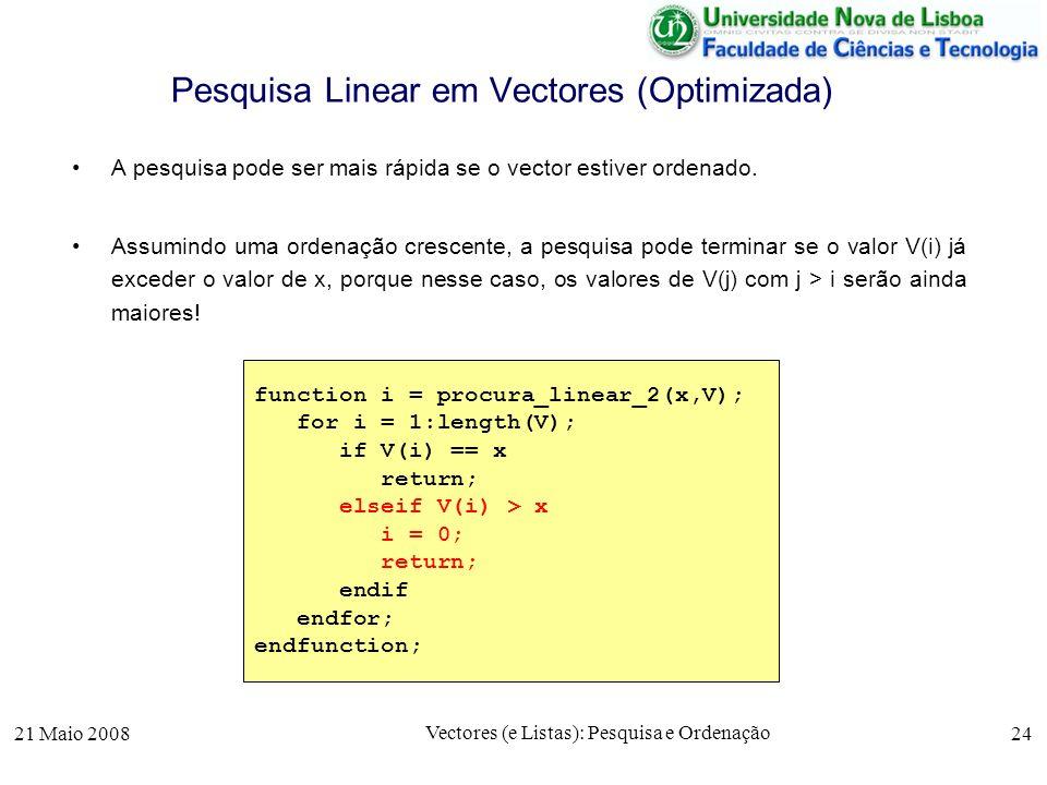 21 Maio 2008 Vectores (e Listas): Pesquisa e Ordenação 24 Pesquisa Linear em Vectores (Optimizada) A pesquisa pode ser mais rápida se o vector estiver