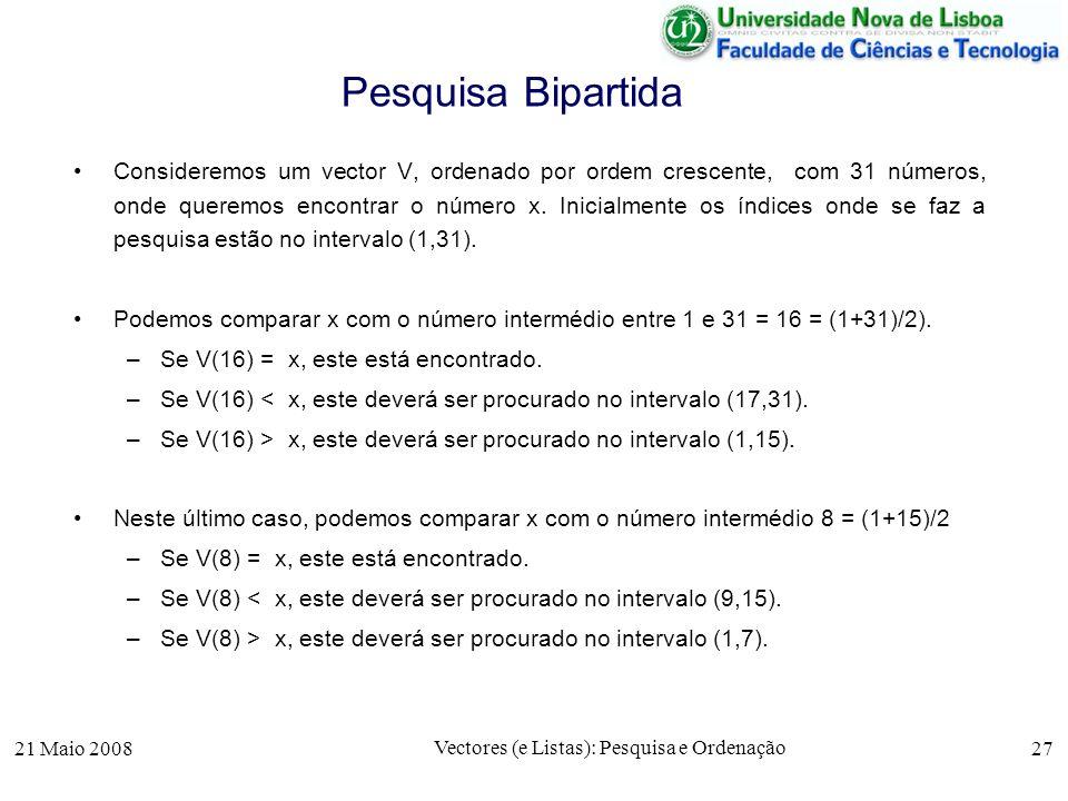 21 Maio 2008 Vectores (e Listas): Pesquisa e Ordenação 27 Pesquisa Bipartida Consideremos um vector V, ordenado por ordem crescente, com 31 números, o