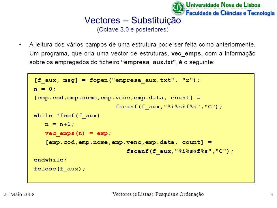 21 Maio 2008 Vectores (e Listas): Pesquisa e Ordenação 3 Vectores – Substituição (Octave 3.0 e posteriores) A leitura dos vários campos de uma estrutu