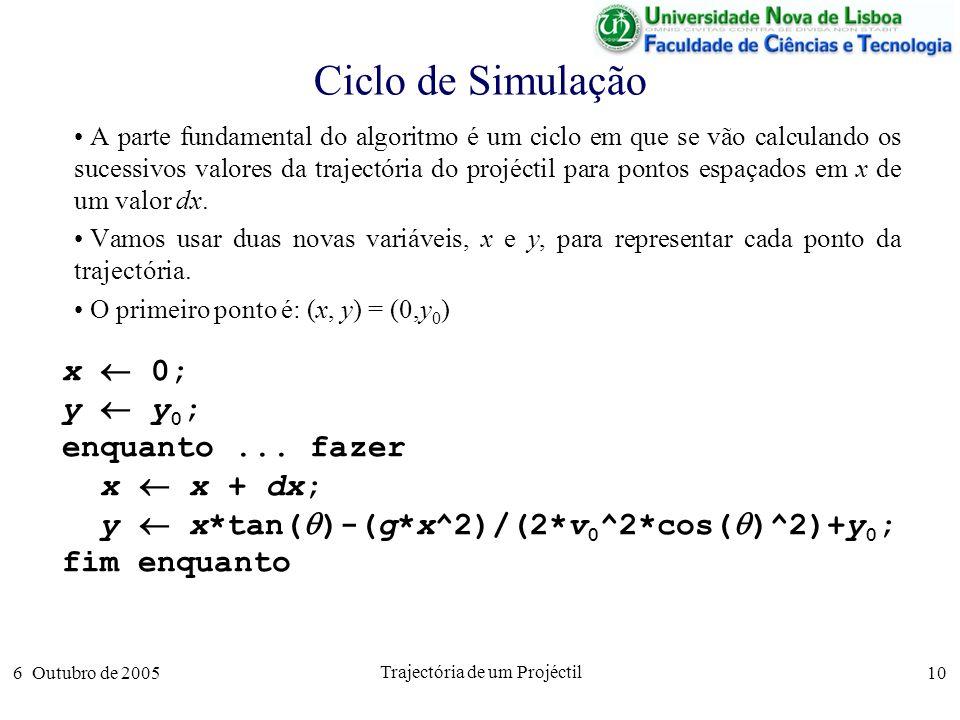 6 Outubro de 2005 Trajectória de um Projéctil 10 Ciclo de Simulação A parte fundamental do algoritmo é um ciclo em que se vão calculando os sucessivos valores da trajectória do projéctil para pontos espaçados em x de um valor dx.