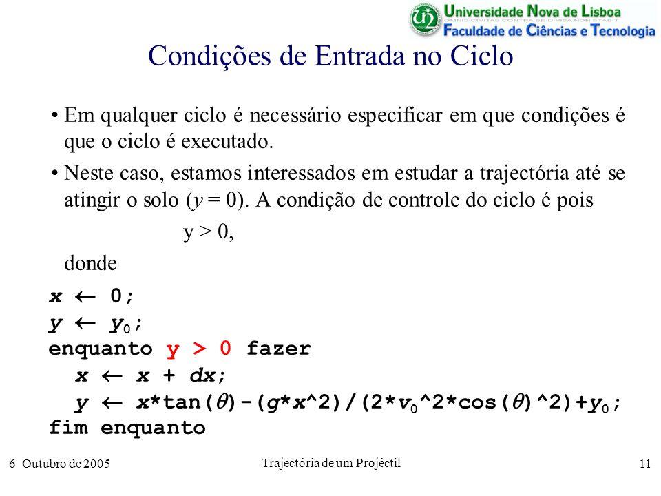 6 Outubro de 2005 Trajectória de um Projéctil 11 Condições de Entrada no Ciclo Em qualquer ciclo é necessário especificar em que condições é que o ciclo é executado.