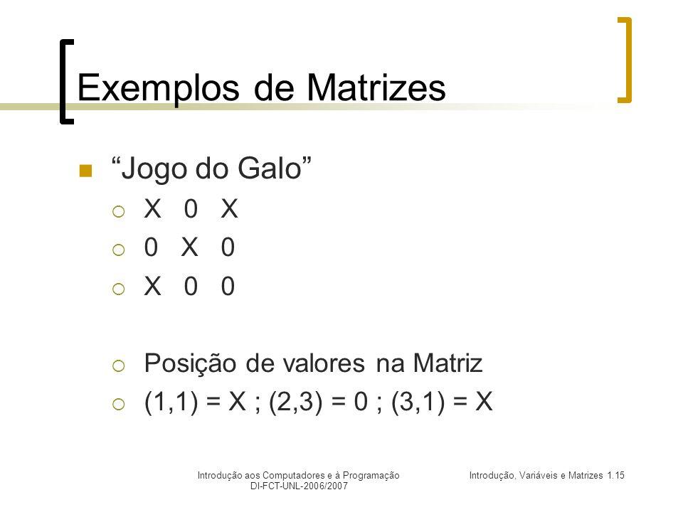 Introdução, Variáveis e Matrizes 1.15Introdução aos Computadores e à Programação DI-FCT-UNL-2006/2007 Exemplos de Matrizes Jogo do Galo X 0 X 0 X 0 X 0 0 Posição de valores na Matriz (1,1) = X ; (2,3) = 0 ; (3,1) = X