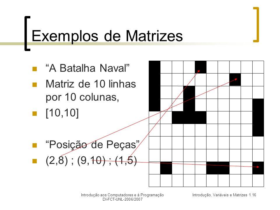 Introdução, Variáveis e Matrizes 1.16Introdução aos Computadores e à Programação DI-FCT-UNL-2006/2007 Exemplos de Matrizes A Batalha Naval Matriz de 10 linhas por 10 colunas, [10,10] Posição de Peças (2,8) ; (9,10) ; (1,5)