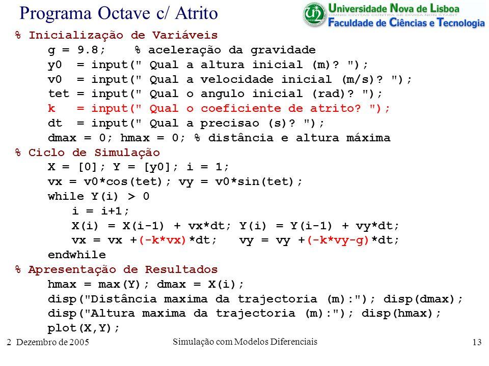 2 Dezembro de 2005 Simulação com Modelos Diferenciais 13 Programa Octave c/ Atrito % Inicialização de Variáveis g = 9.8; % aceleração da gravidade y0