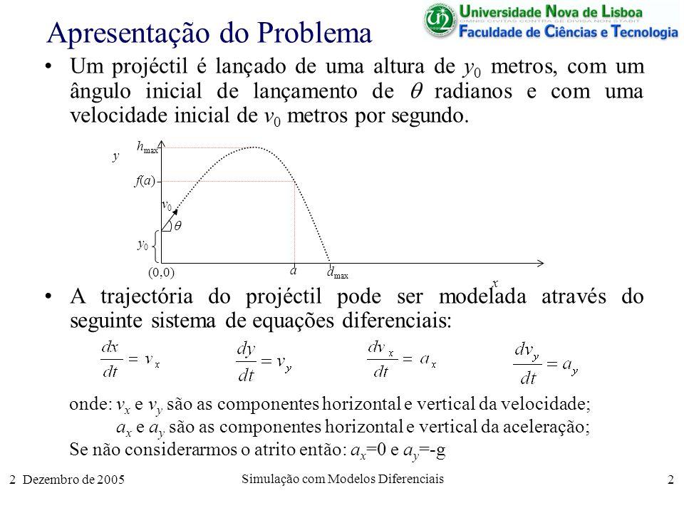 2 Dezembro de 2005 Simulação com Modelos Diferenciais 2 Apresentação do Problema Um projéctil é lançado de uma altura de y 0 metros, com um ângulo ini