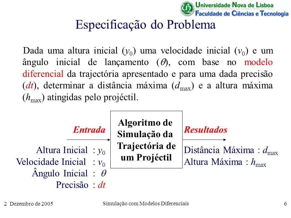 2 Dezembro de 2005 Simulação com Modelos Diferenciais 6 Especificação do Problema Dada uma altura inicial (y 0 ) uma velocidade inicial (v 0 ) e um ân