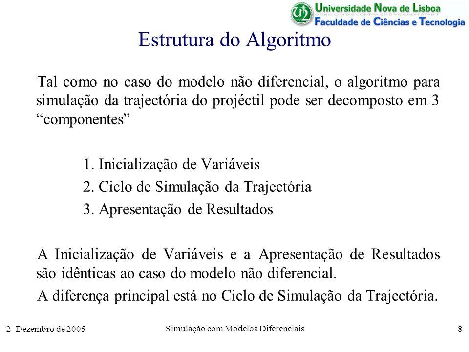 2 Dezembro de 2005 Simulação com Modelos Diferenciais 9 Ciclo de Simulação A parte fundamental do algoritmo é um ciclo em que se vão calculando os sucessivos valores da trajectória do projéctil para pontos espaçados no tempo de um valor dt.
