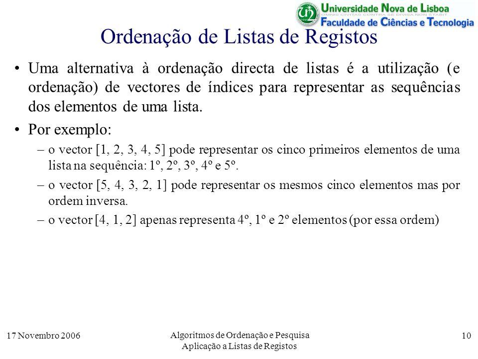 17 Novembro 2006 Algoritmos de Ordenação e Pesquisa Aplicação a Listas de Registos 10 Ordenação de Listas de Registos Uma alternativa à ordenação directa de listas é a utilização (e ordenação) de vectores de índices para representar as sequências dos elementos de uma lista.