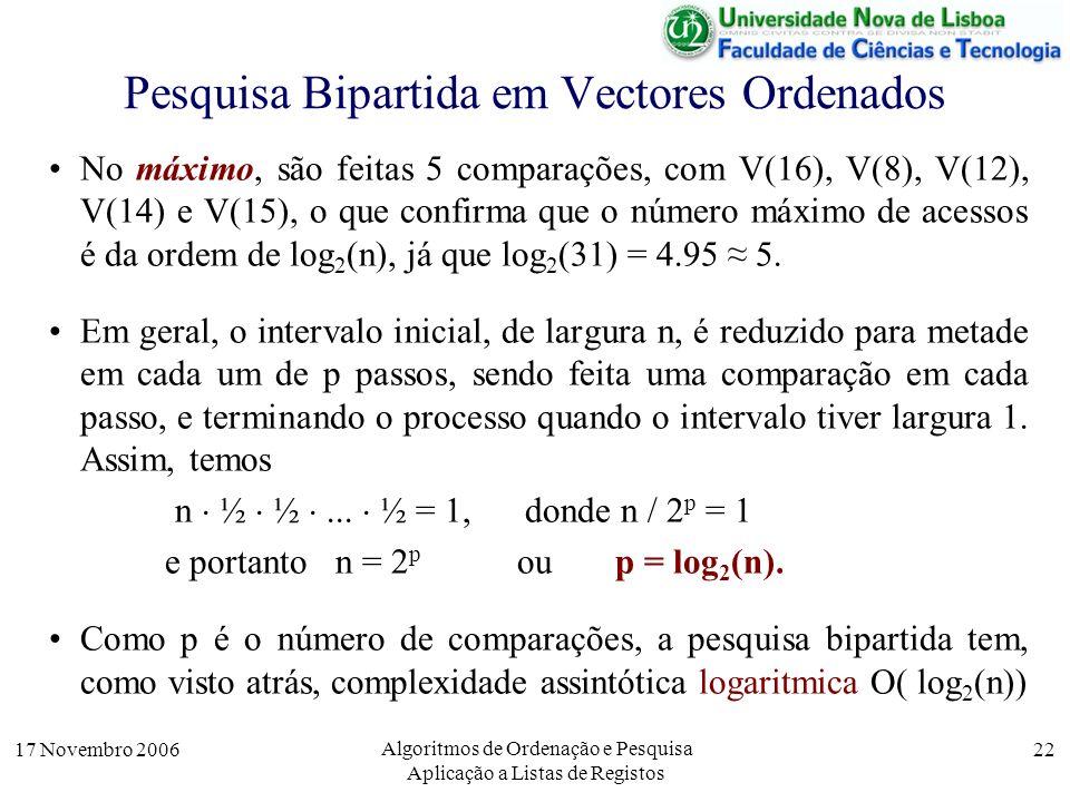 17 Novembro 2006 Algoritmos de Ordenação e Pesquisa Aplicação a Listas de Registos 22 Pesquisa Bipartida em Vectores Ordenados No máximo, são feitas 5 comparações, com V(16), V(8), V(12), V(14) e V(15), o que confirma que o número máximo de acessos é da ordem de log 2 (n), já que log 2 (31) = 4.95 5.