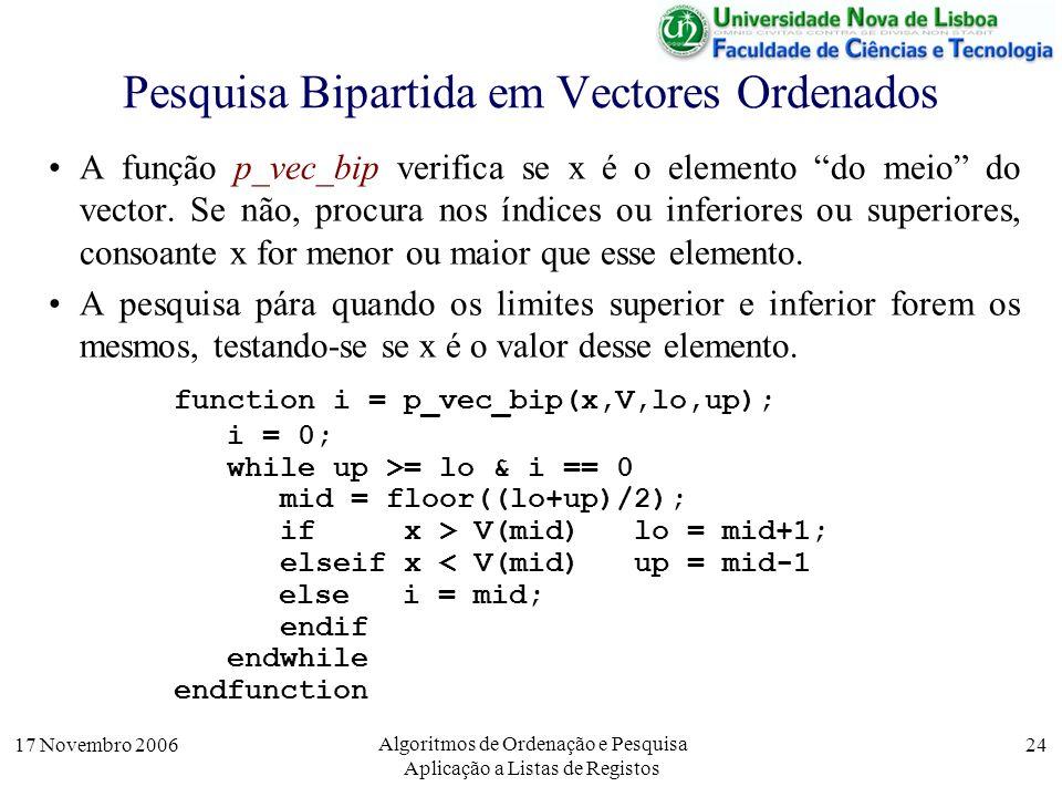17 Novembro 2006 Algoritmos de Ordenação e Pesquisa Aplicação a Listas de Registos 24 Pesquisa Bipartida em Vectores Ordenados A função p_vec_bip verifica se x é o elemento do meio do vector.