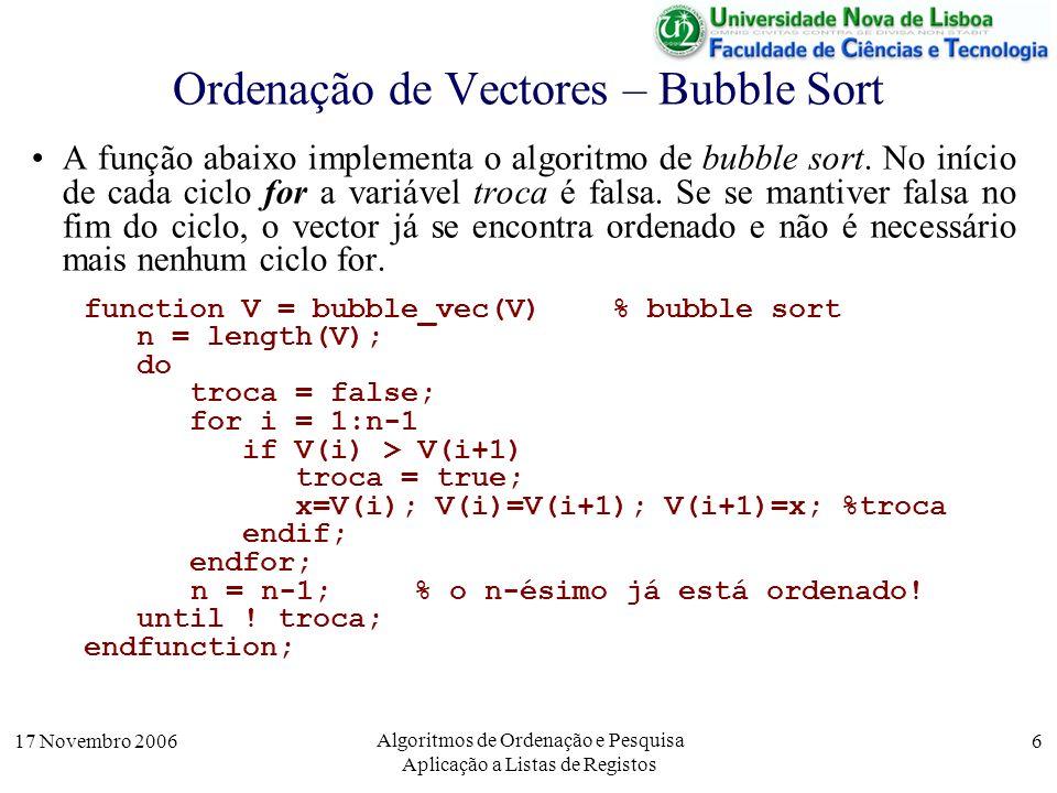 17 Novembro 2006 Algoritmos de Ordenação e Pesquisa Aplicação a Listas de Registos 17 Pesquisa Linear em Vectores Ordenados A complexidade da pesquisa pode ser melhorada se o vector está ordenado.
