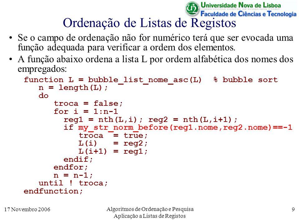 17 Novembro 2006 Algoritmos de Ordenação e Pesquisa Aplicação a Listas de Registos 9 Se o campo de ordenação não for numérico terá que ser evocada uma função adequada para verificar a ordem dos elementos.