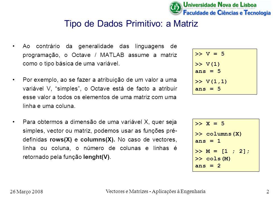 26 Março 2008 Vectores e Matrizes - Aplicações à Engenharia 3 Matrizes De facto, as funções aplicáveis a uma variável simples são sempre distribuídas por todos os elementos de uma matriz.