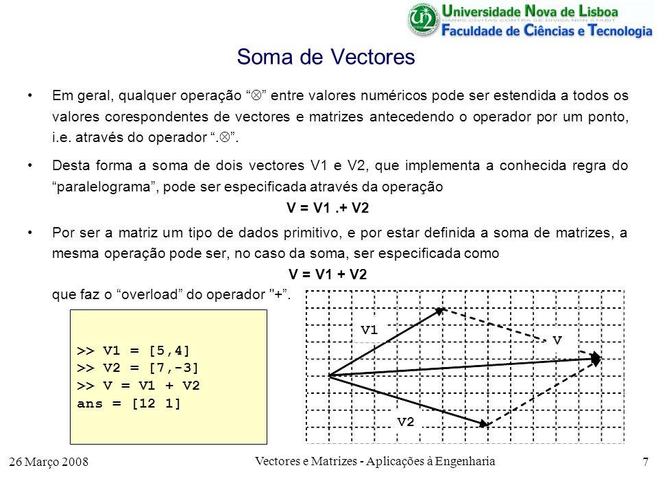 26 Março 2008 Vectores e Matrizes - Aplicações à Engenharia 18 Produto Interno Para se obter o produto interno de dois vectores linha V1 e V2 com k elementos, basta notar que este produto pode ser obtido através da multiplicação da matriz V1 (1*k) com a matriz transposta de V2 (k*1).