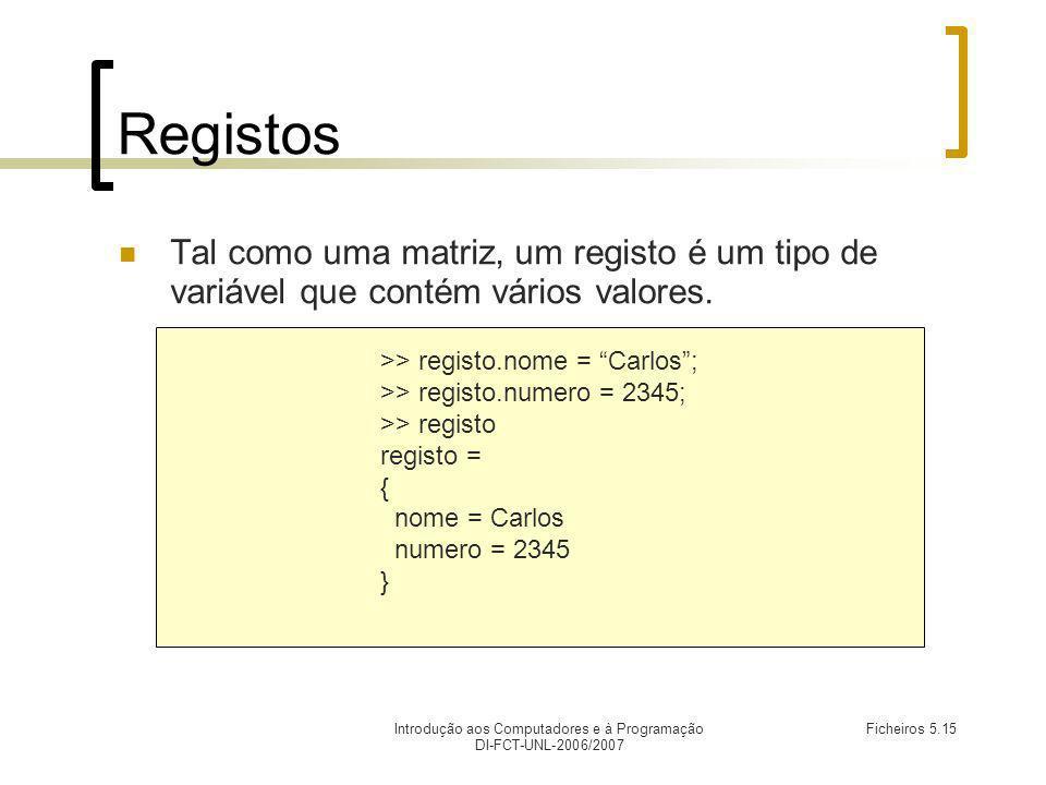 Introdução aos Computadores e à Programação DI-FCT-UNL-2006/2007 Ficheiros 5.15 Registos Tal como uma matriz, um registo é um tipo de variável que contém vários valores.