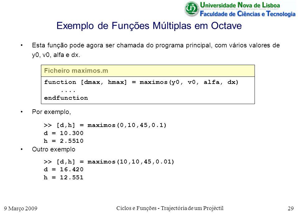 9 Março 2009 Ciclos e Funções - Trajectória de um Projéctil 29 Exemplo de Funções Múltiplas em Octave Esta função pode agora ser chamada do programa principal, com vários valores de y0, v0, alfa e dx.