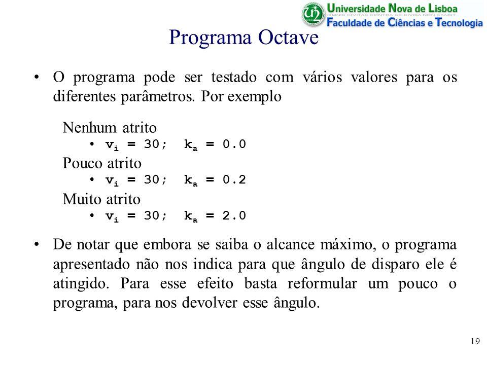 19 Programa Octave O programa pode ser testado com vários valores para os diferentes parâmetros.