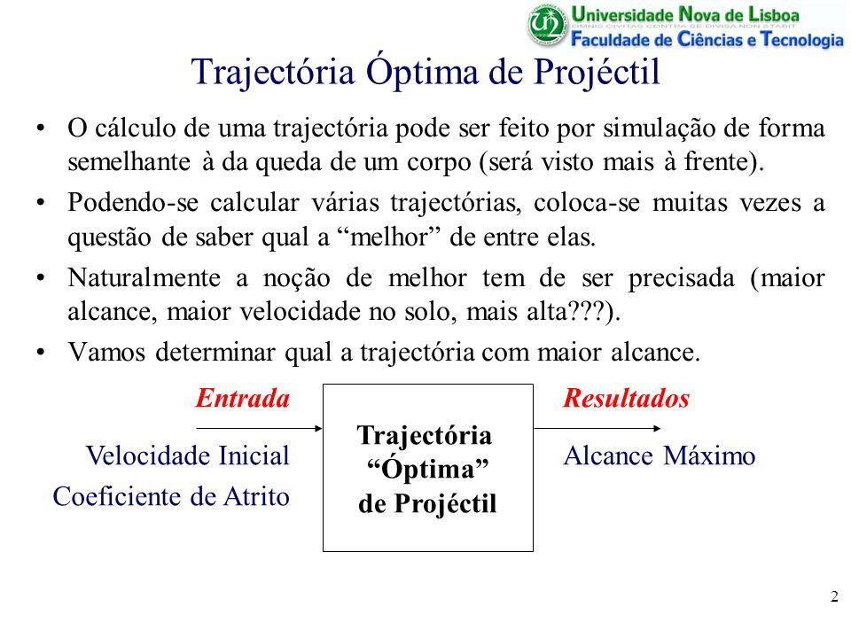 2 Trajectória Óptima de Projéctil O cálculo de uma trajectória pode ser feito por simulação de forma semelhante à da queda de um corpo (será visto mais à frente).