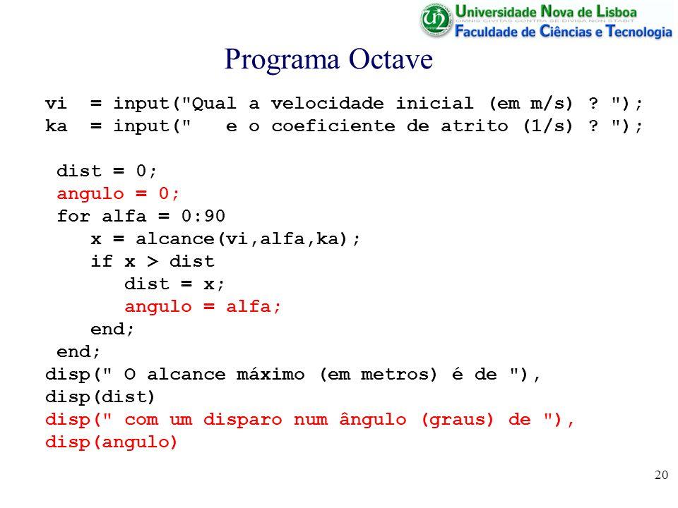 20 Programa Octave vi = input( Qual a velocidade inicial (em m/s) .