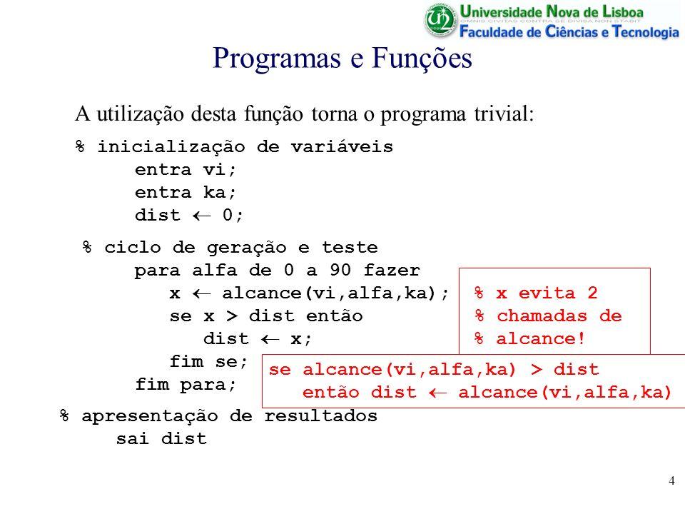 4 Programas e Funções A utilização desta função torna o programa trivial: % inicialização de variáveis entra vi; entra ka; dist 0; % ciclo de geração e teste para alfa de 0 a 90 fazer x alcance(vi,alfa,ka); % x evita 2 se x > dist então % chamadas de dist x; % alcance.