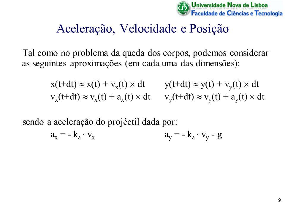 9 Aceleração, Velocidade e Posição Tal como no problema da queda dos corpos, podemos considerar as seguintes aproximações (em cada uma das dimensões): x(t+dt) x(t) + v x (t) dty(t+dt) y(t) + v y (t) dt v x (t+dt) v x (t) + a x (t) dtv y (t+dt) v y (t) + a y (t) dt sendo a aceleração do projéctil dada por: a x = - k a v x a y = - k a v y - g