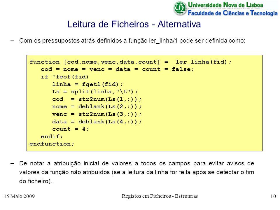 15 Maio 2009 Registos em Ficheiros - Estruturas 10 –Com os pressupostos atrás definidos a função ler_linha/1 pode ser definida como: –De notar a atrib