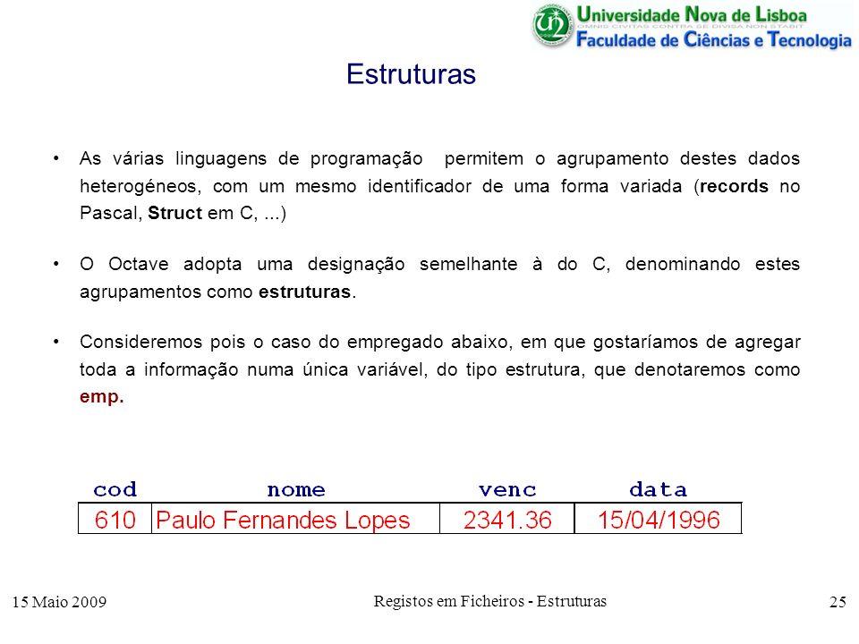15 Maio 2009 Registos em Ficheiros - Estruturas 25 As várias linguagens de programação permitem o agrupamento destes dados heterogéneos, com um mesmo