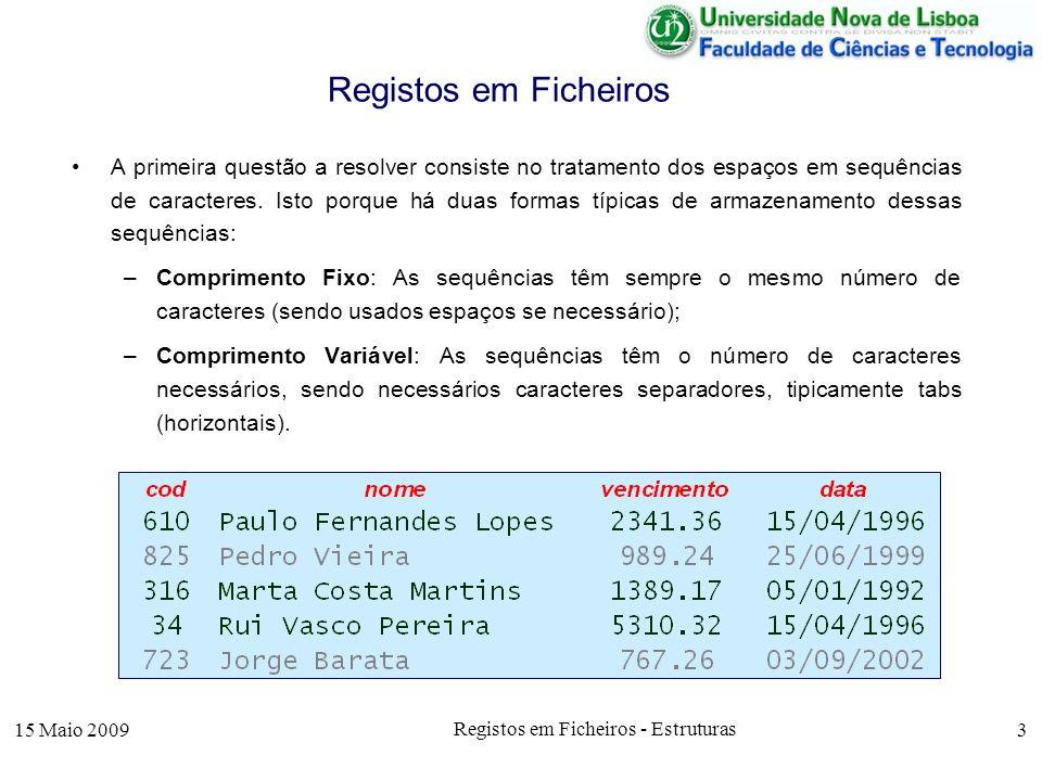 15 Maio 2009 Registos em Ficheiros - Estruturas 3 Registos em Ficheiros A primeira questão a resolver consiste no tratamento dos espaços em sequências de caracteres.