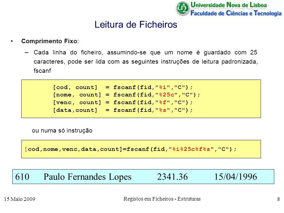 15 Maio 2009 Registos em Ficheiros - Estruturas 8 Comprimento Fixo: –Cada linha do ficheiro, assumindo-se que um nome é guardado com 25 caracteres, po