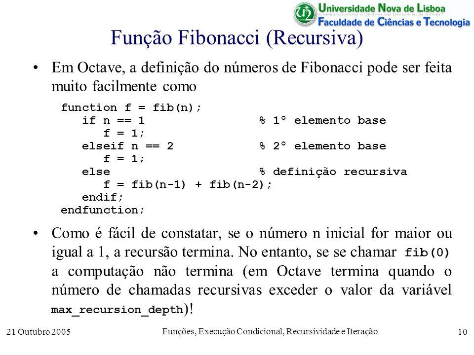 21 Outubro 2005 Funções, Execução Condicional, Recursividade e Iteração 10 Função Fibonacci (Recursiva) Em Octave, a definição do números de Fibonacci