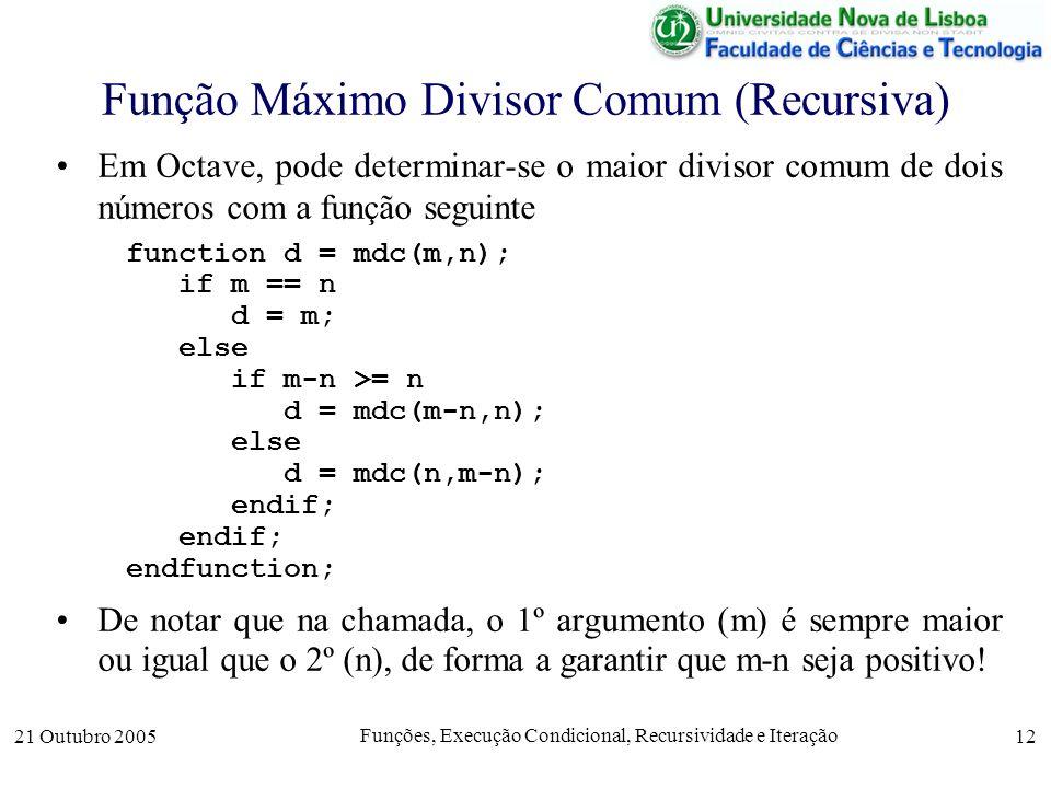 21 Outubro 2005 Funções, Execução Condicional, Recursividade e Iteração 12 Função Máximo Divisor Comum (Recursiva) Em Octave, pode determinar-se o mai