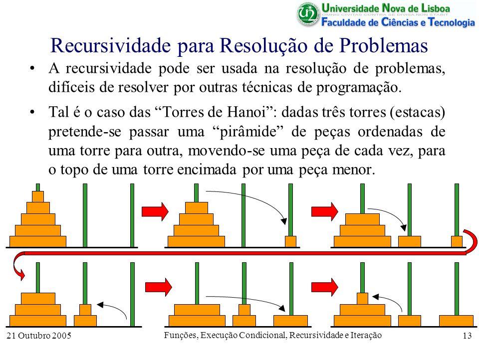21 Outubro 2005 Funções, Execução Condicional, Recursividade e Iteração 13 Recursividade para Resolução de Problemas A recursividade pode ser usada na