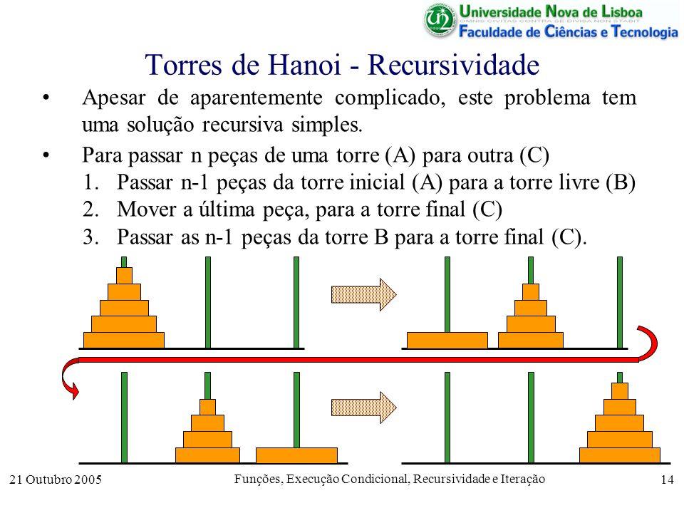 21 Outubro 2005 Funções, Execução Condicional, Recursividade e Iteração 14 Apesar de aparentemente complicado, este problema tem uma solução recursiva