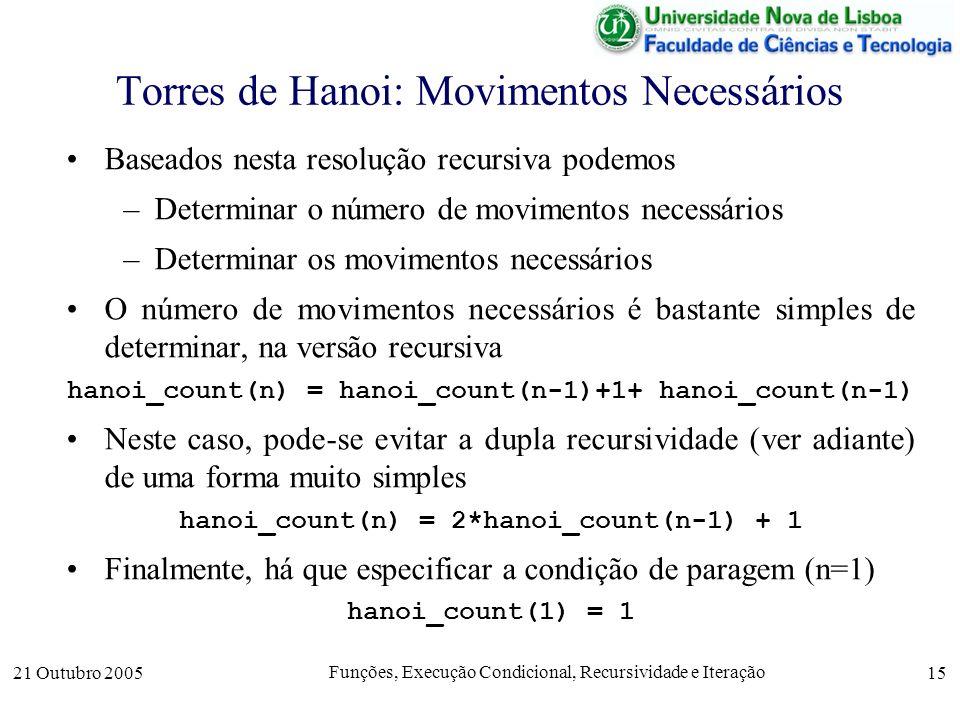 21 Outubro 2005 Funções, Execução Condicional, Recursividade e Iteração 15 Torres de Hanoi: Movimentos Necessários Baseados nesta resolução recursiva