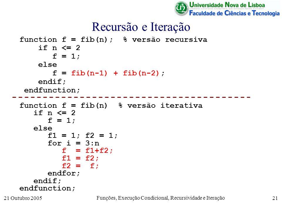 21 Outubro 2005 Funções, Execução Condicional, Recursividade e Iteração 21 Recursão e Iteração function f = fib(n); % versão recursiva if n <= 2 f = 1