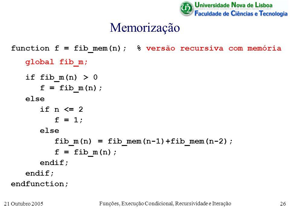 21 Outubro 2005 Funções, Execução Condicional, Recursividade e Iteração 26 Memorização function f = fib_mem(n); % versão recursiva com memória global