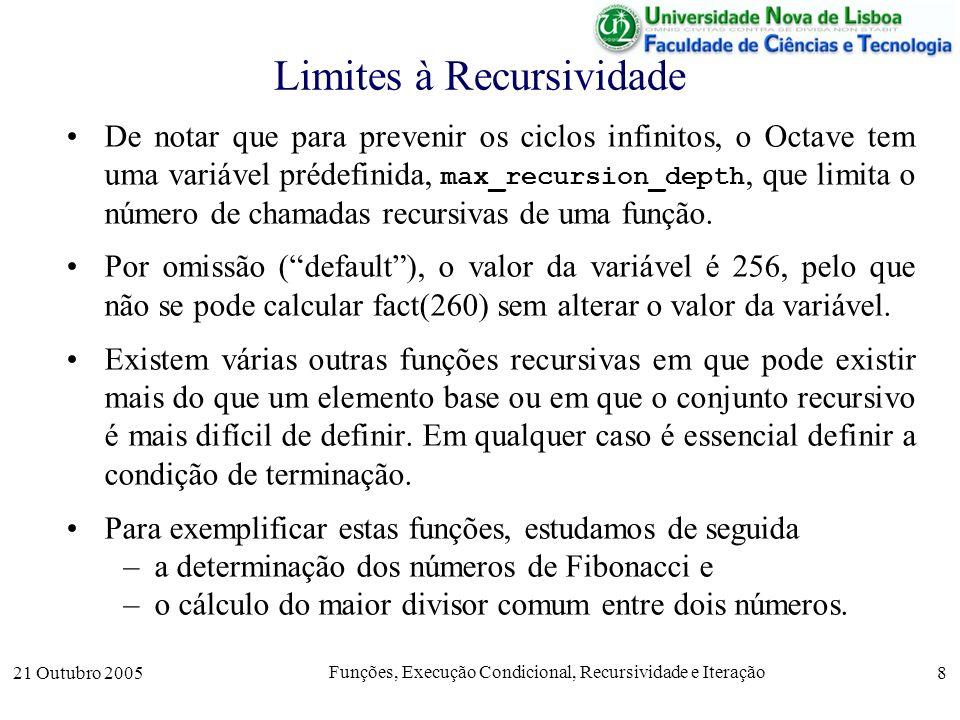 21 Outubro 2005 Funções, Execução Condicional, Recursividade e Iteração 9 Função Fibonacci (Recursiva) Fibonacci (matemático da Renascença italiana) estabeleceu uma série curiosa de números para modelar o número de casais de coelhos em sucessivas gerações.