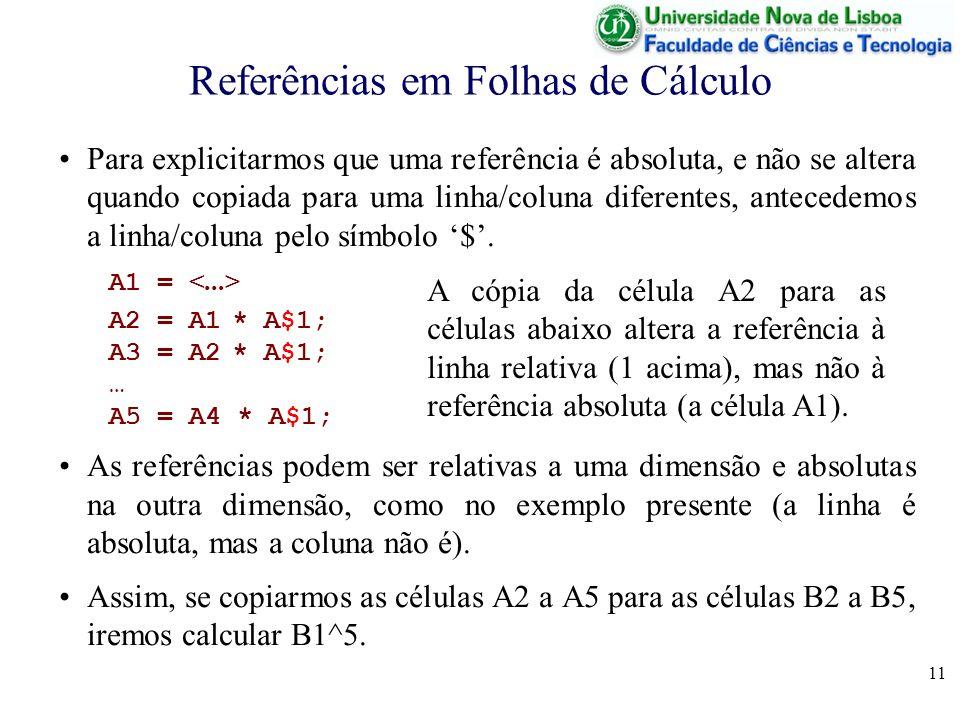 11 Referências em Folhas de Cálculo Para explicitarmos que uma referência é absoluta, e não se altera quando copiada para uma linha/coluna diferentes, antecedemos a linha/coluna pelo símbolo $.