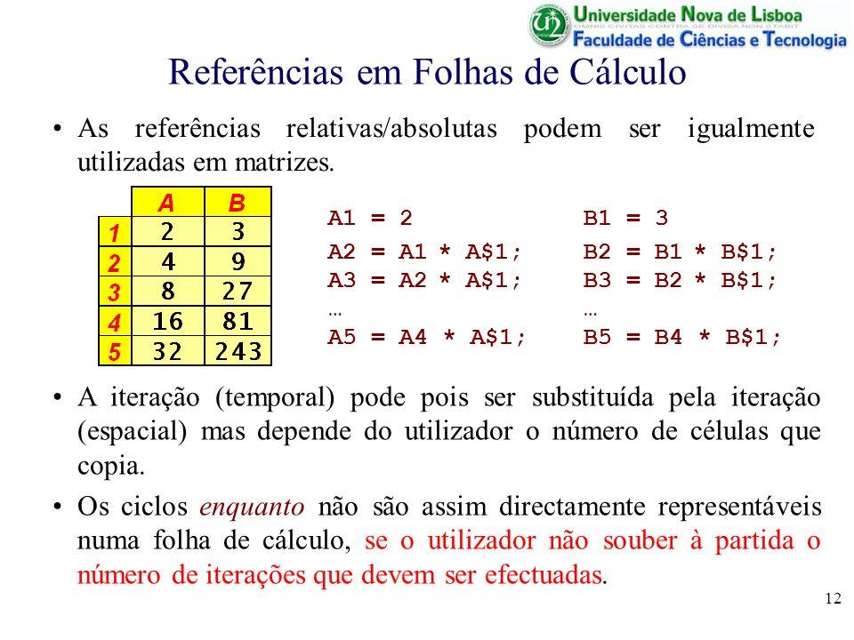 12 Referências em Folhas de Cálculo As referências relativas/absolutas podem ser igualmente utilizadas em matrizes.