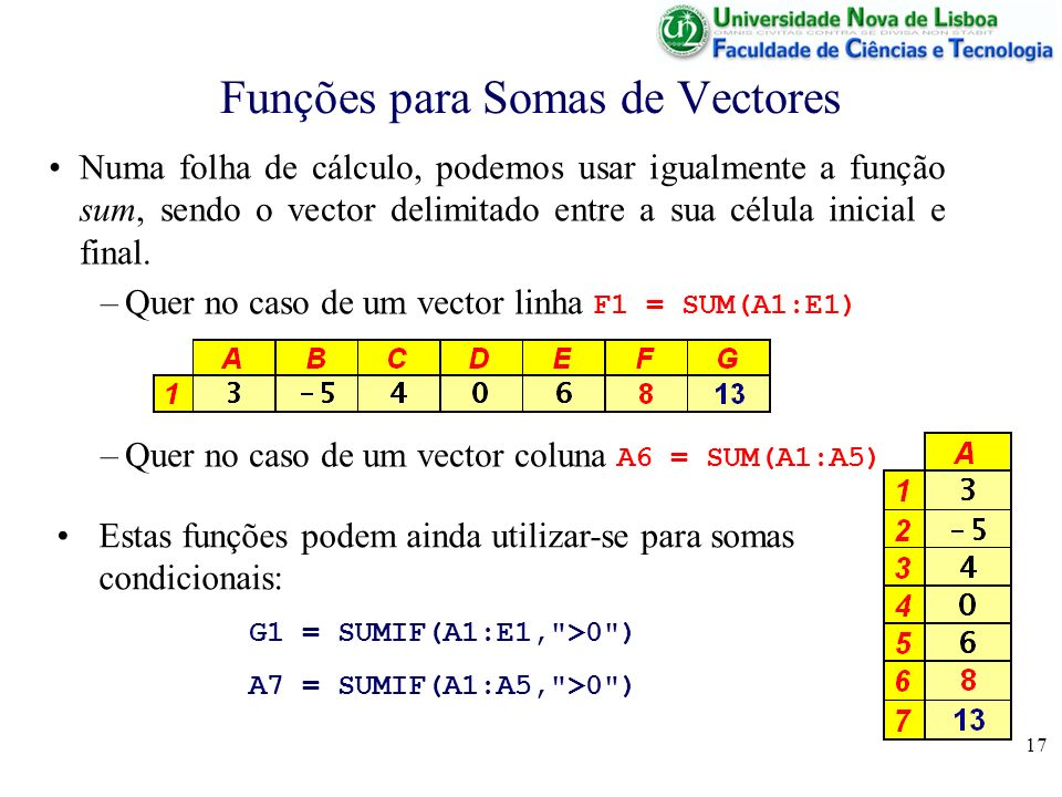 17 Funções para Somas de Vectores Numa folha de cálculo, podemos usar igualmente a função sum, sendo o vector delimitado entre a sua célula inicial e final.