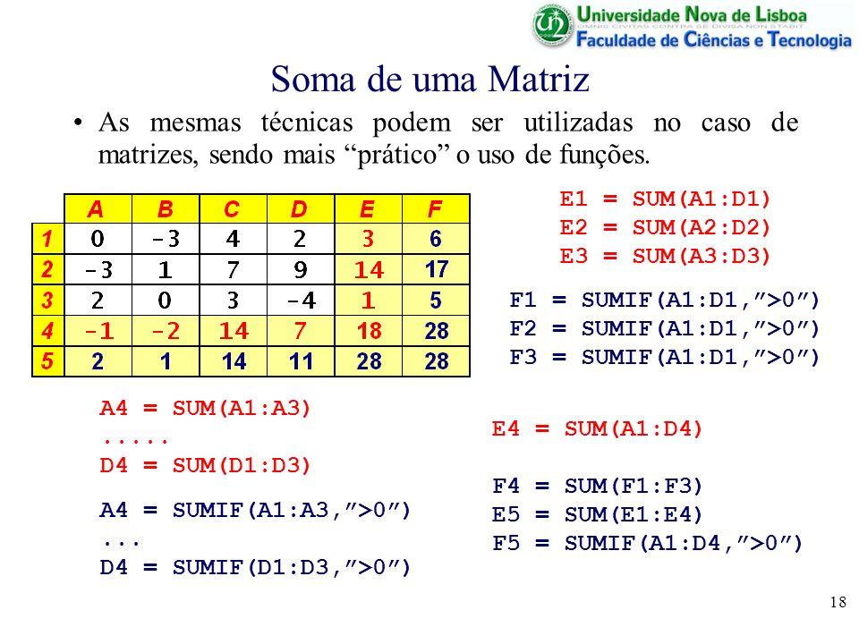 18 Soma de uma Matriz As mesmas técnicas podem ser utilizadas no caso de matrizes, sendo mais prático o uso de funções.