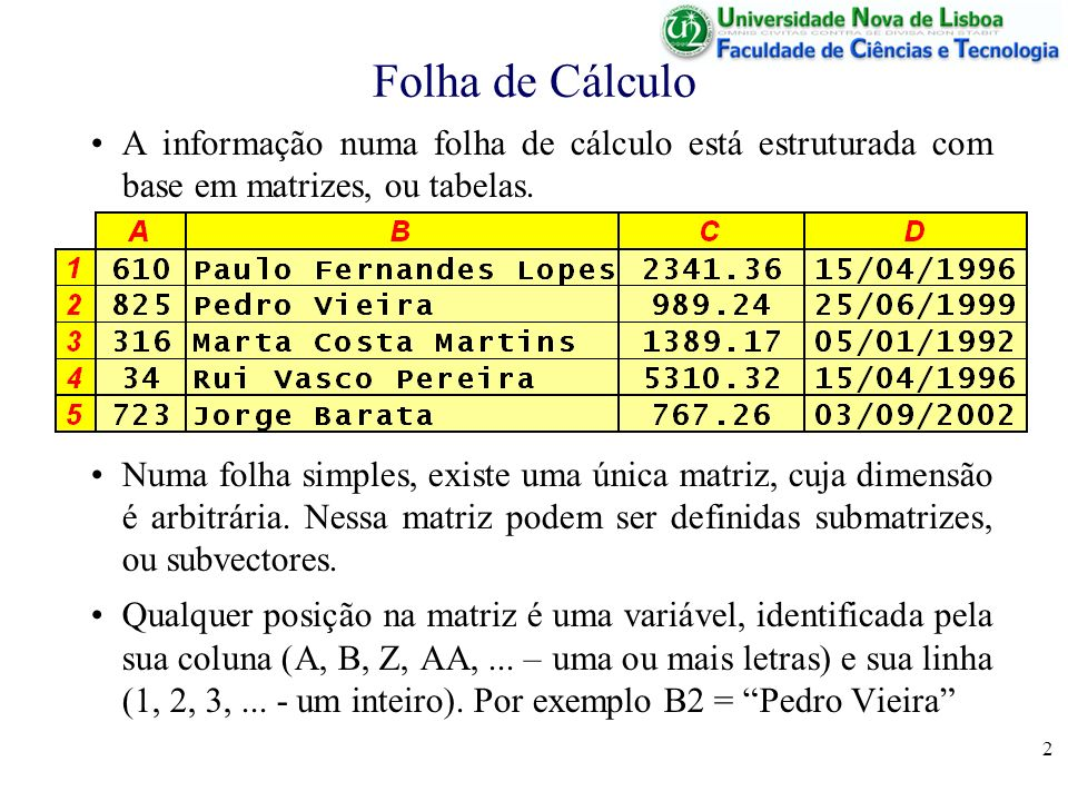2 Folha de Cálculo A informação numa folha de cálculo está estruturada com base em matrizes, ou tabelas.