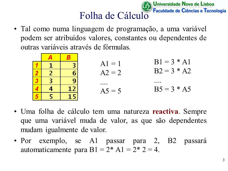 4 Folha de Cálculo Por esta razão, não são permitidas fórmulas que introduzam dependências circulares –directas ( A1 = 2 * A1); –ou indirectas (A1 = 2 * B1 e B1 = 2 * A1).
