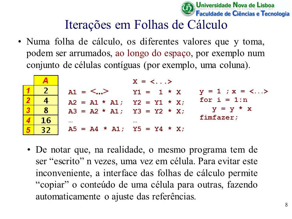 9 Iterações em Folhas de Cálculo Por exemplo, se tivermos a célula B1 definida como B1 = 2* A1 e copiarmos a célula B1 para a célula B2, como a cópia é feita para uma célula com nº de linha superior em 1, (B1 para B2), o valor 1 é acrescentado a todas as linhas na fórmula, obtendo-se B2 = 2*A2 Igualmente ao copiar uma célula para outra ao lado, a diferença de colunas entre a célula origem e a célula destino é acrescentada às referências a colunas.