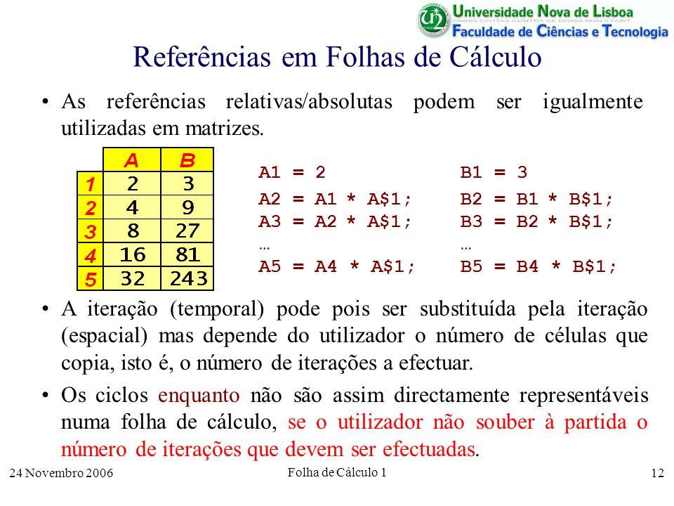 24 Novembro 2006 Folha de Cálculo 1 12 Referências em Folhas de Cálculo As referências relativas/absolutas podem ser igualmente utilizadas em matrizes