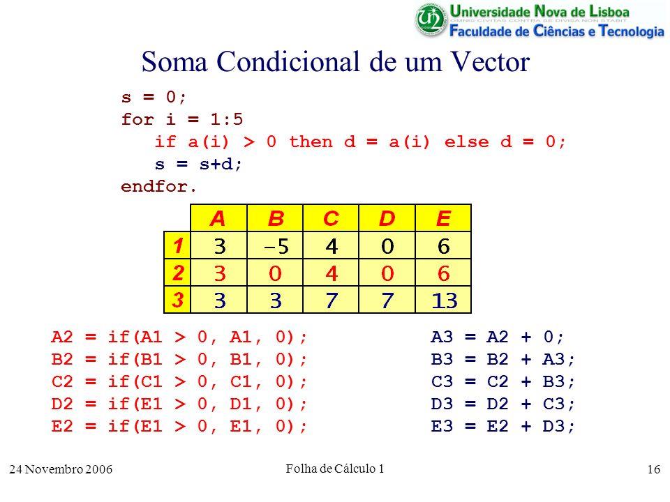 24 Novembro 2006 Folha de Cálculo 1 16 Soma Condicional de um Vector s = 0; for i = 1:5 if a(i) > 0 then d = a(i) else d = 0; s = s+d; endfor. A3 = A2