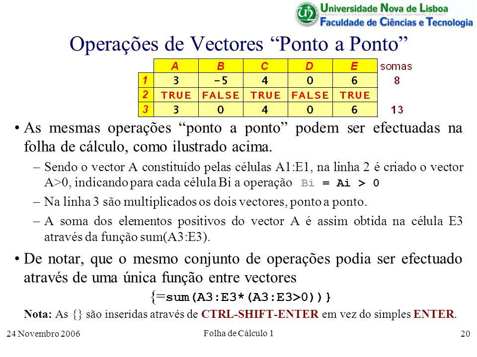 24 Novembro 2006 Folha de Cálculo 1 20 Operações de Vectores Ponto a Ponto As mesmas operações ponto a ponto podem ser efectuadas na folha de cálculo,