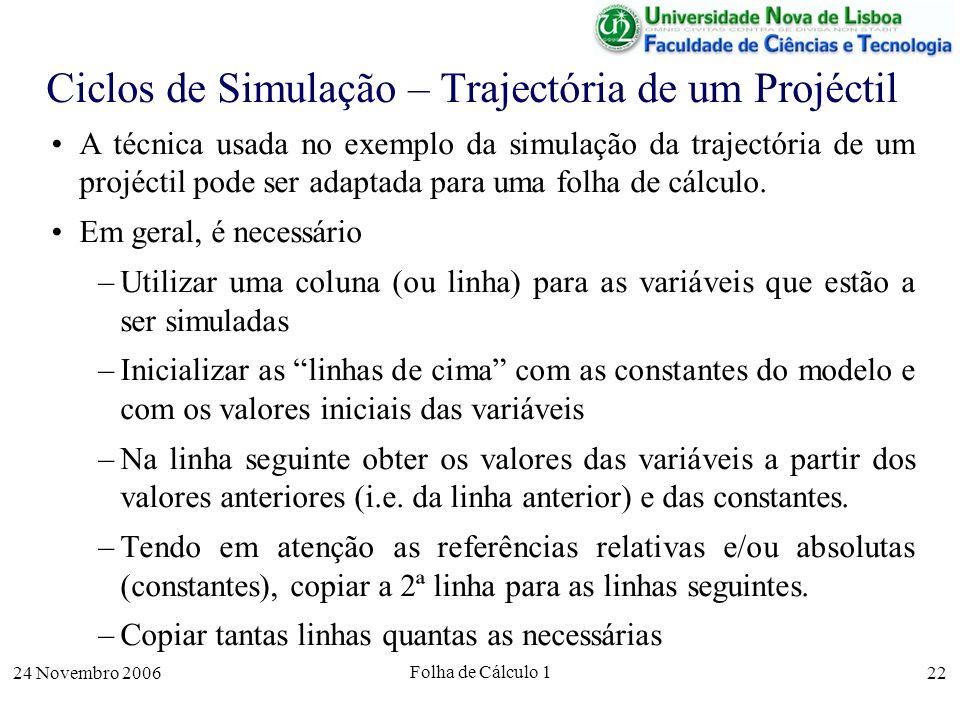 24 Novembro 2006 Folha de Cálculo 1 22 Ciclos de Simulação – Trajectória de um Projéctil A técnica usada no exemplo da simulação da trajectória de um