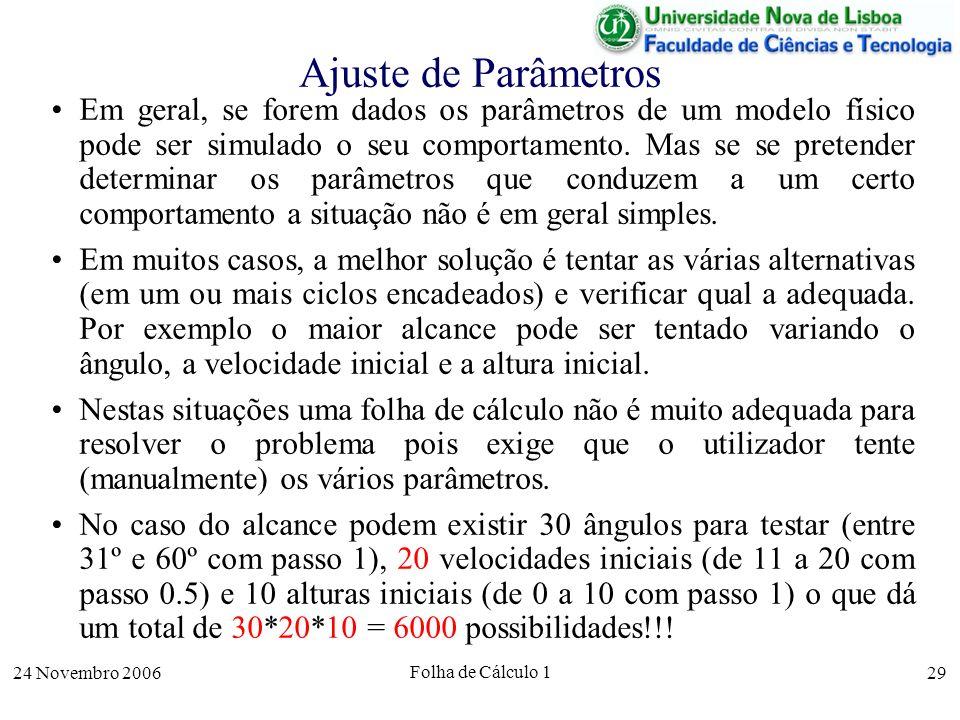 24 Novembro 2006 Folha de Cálculo 1 29 Ajuste de Parâmetros Em geral, se forem dados os parâmetros de um modelo físico pode ser simulado o seu comport