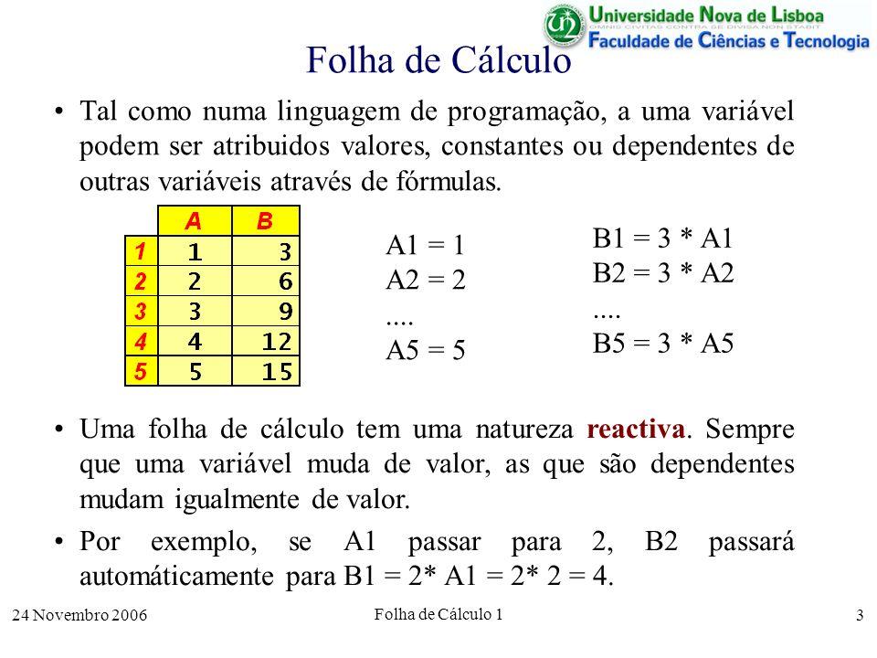 24 Novembro 2006 Folha de Cálculo 1 4 Folha de Cálculo Por esta razão, não são permitidas fórmulas que introduzam dependências circulares –directas ( A1 = 2 * A1); –ou indirectas (A1 = 3 * B1 e B1 = 4 * A1).